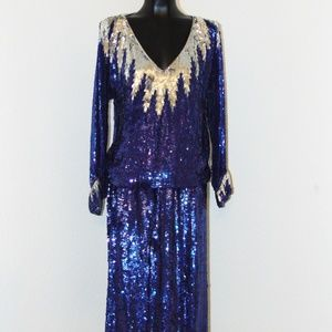 Vtg 80s Royal Blue Sequin Design Blouse & Skirt